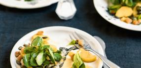 Zweierlei Salat mit Croutons und Kürbiskernen
