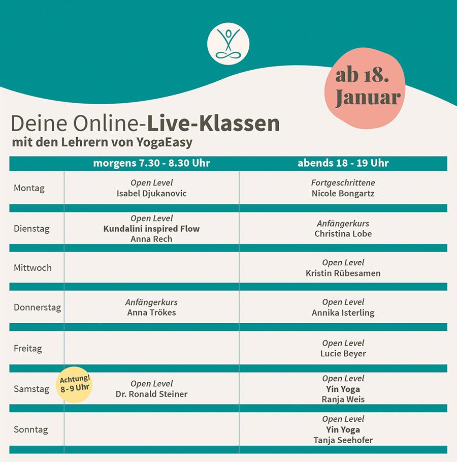 YogaEasy Live-Klassen ab 18. Januar 2021