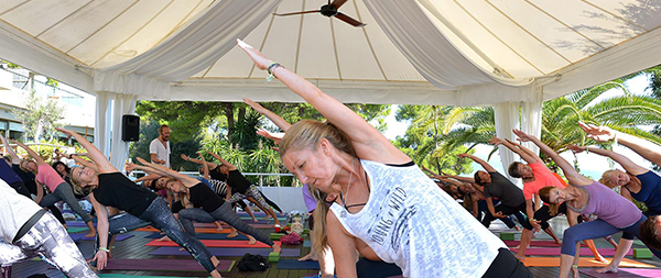 Wunderschöne Yogalocation Patio beim YogaEasy Allstars Retreat 2017