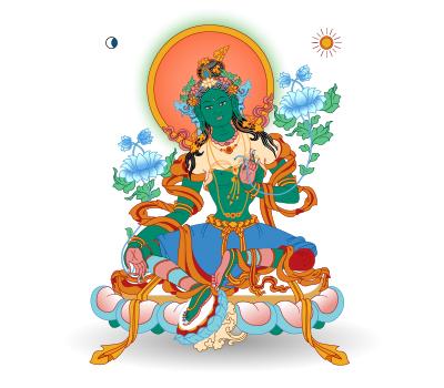 Die Grüne Tara, buddhistische Gottheit