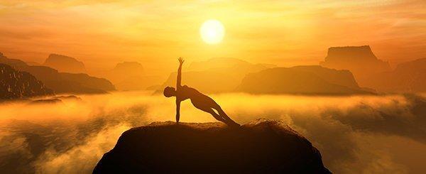 Yoga auf einem Berg