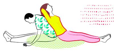 Illustration Partner-Yoga Rücken an Rücken Vor- und Rückbeugen