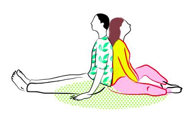 Illustration Partner-Yoga Rücken an Rücken Nachspüren